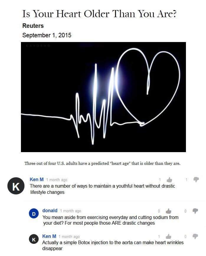 """Text - Is Your Heart Older Than You Are? Reuters September 1, 2015 Three out of four U.S. adults have a predicted """"heart age"""" that is older than they are. Ken M 1 month ago K There are a number of ways to maintain a youthful heart without drastic lifestyle changes donald 1 month ago D You mean aside from exercising everyday and cutting sodium from your diet? For most people those ARE drastic changes Ken M 1 month ago K Actually a simple Botox injection to the aorta can make heart wrinkles disapp"""