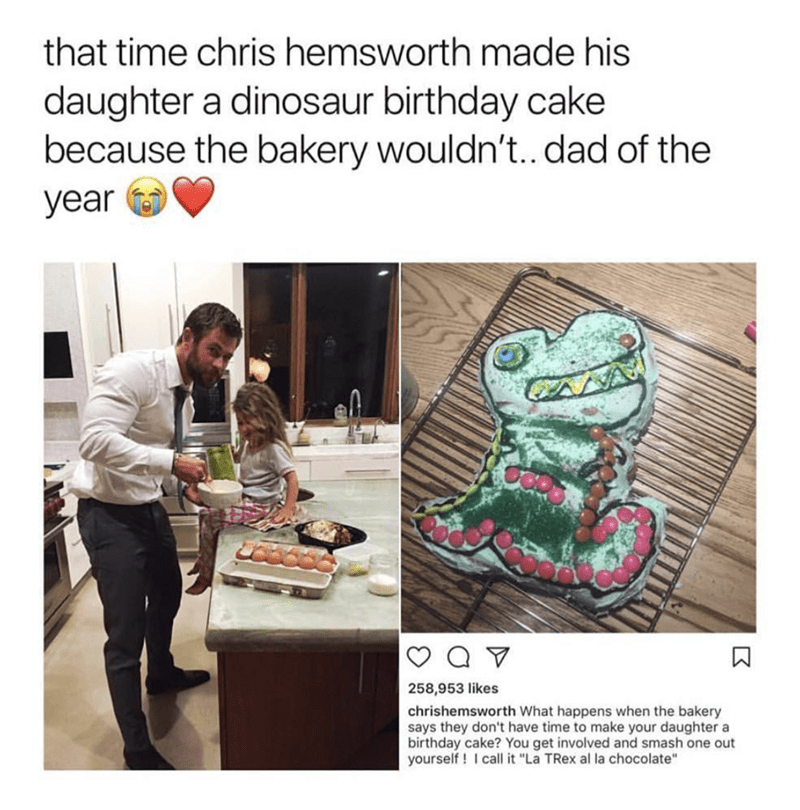 """Organism - that time chris hemsworth made his daughter a dinosaur birthday cake because the bakery wouldn't.. dad of the year 258,953 likes chrishemsworth What happens when the bakery says they don't have time to make your daughter a birthday cake? You get involved and smash one out yourself I call it """"La TRex al la chocolate"""""""