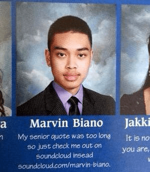 Chin - Jakk Marvin Biano а My senior quote was too long It is no So just check me out on soundcloud insead you are soundcloud.com/marvin-biano.