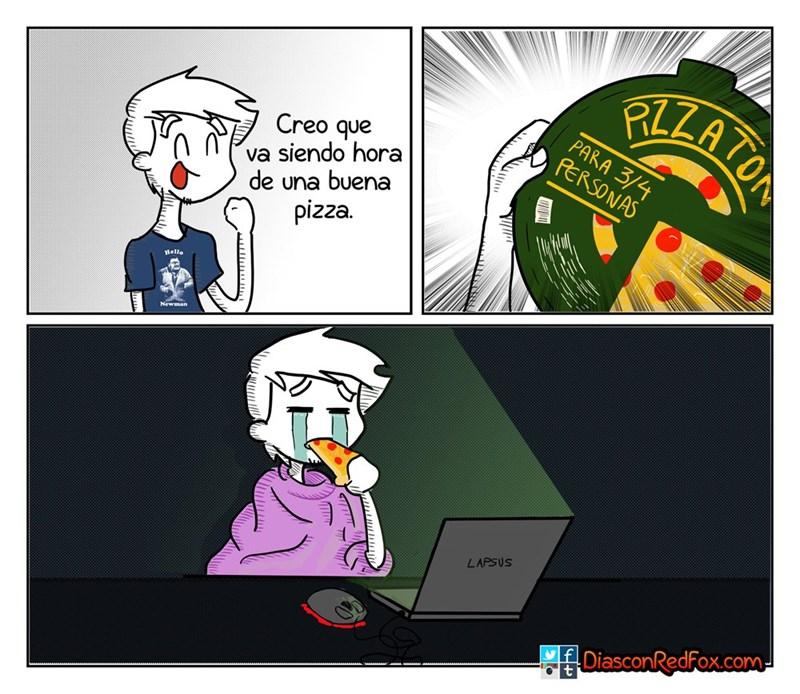 cuando cocinas una pizza de 3 personas para ti solo