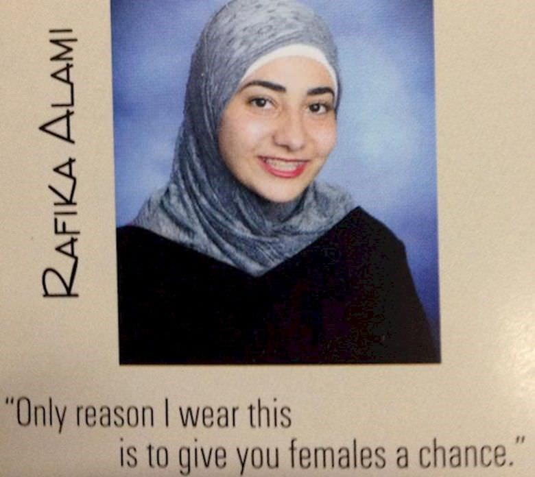 """Face - """"Only reason I wear this is to give you females a chance."""" RAFIKA ALAMI"""