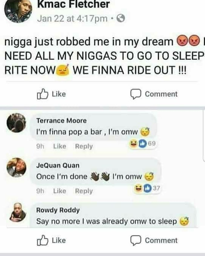Funny meme about dreaming about getting robbed and posting on facebook.