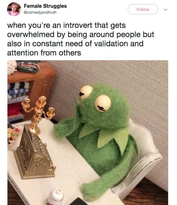 Design - Female Struggles Follow @comedyandtruth when you're an introvert that gets overwhelmed by being around people but also in constant need of validation and attention from others