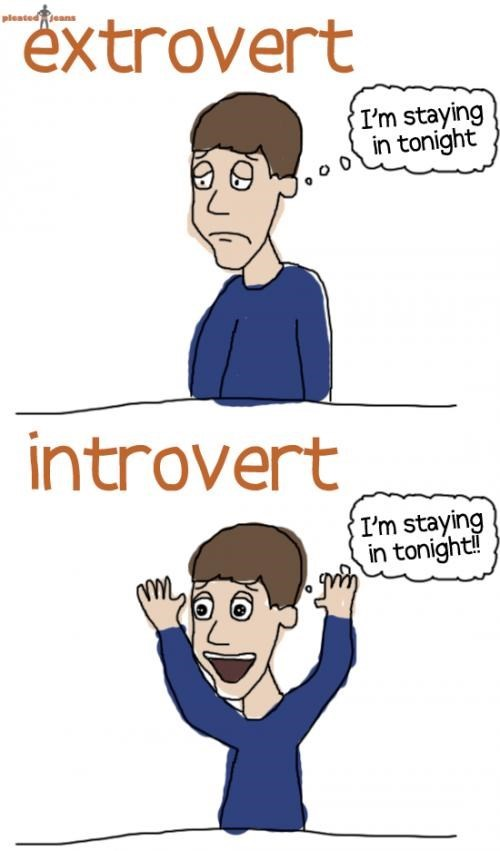 Cartoon - pleatedeans extrovert I'm staying in tonight introvert I'm staying in tonight!