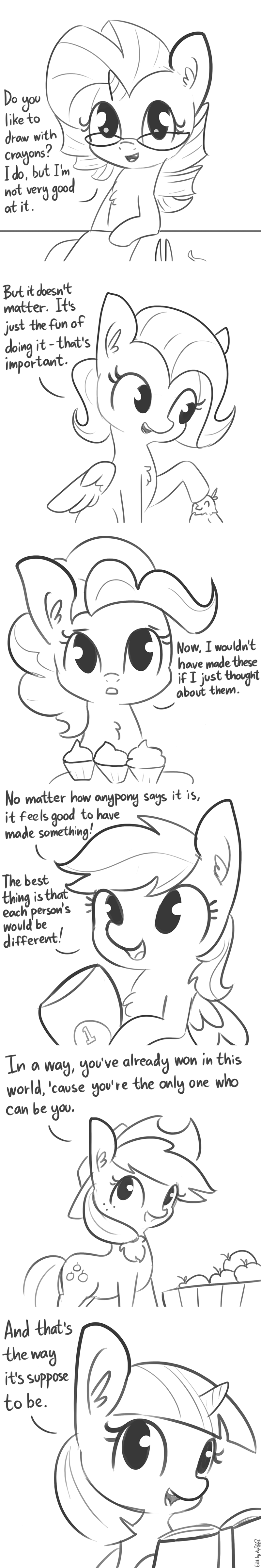wholesome applejack mr rogers tj pones dsp2003 twilight sparkle pinkie pie rarity comic fluttershy rainbow dash - 9145620480
