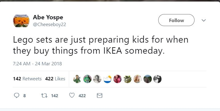 Text - Abe Yospe @Cheeseboy22 Follow Lego sets are just preparing kids for when they buy things from IKEA someday. 7:24 AM -24 Mar 2018 142 Retweets 422 Likes t 142 8 422