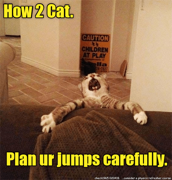 cat meme - Cat - How 2 Cat CAUTION CHILDREN AT PLAY la 74-7827 Plan ur jumps carefully. chech1965 020418consider a physics refresher course.