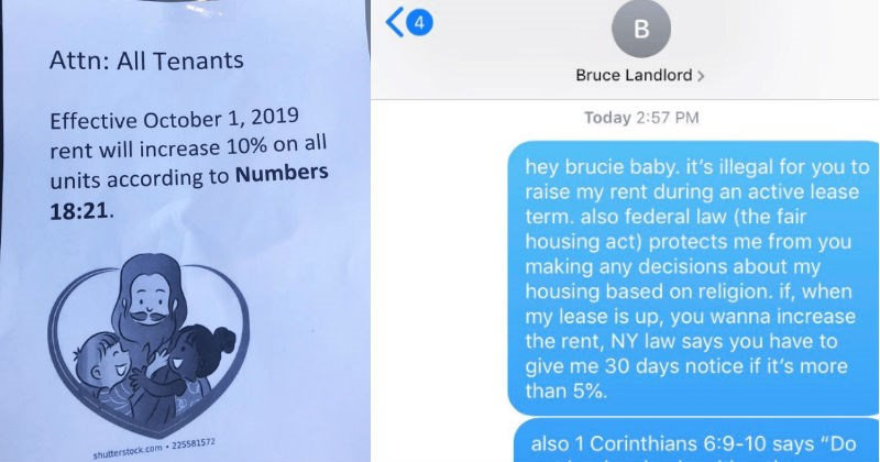 "Landlord ""uses the Bible"" to justify a rent hike, and the tenant totally misses the joke."