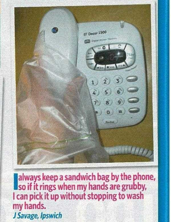 Electronic device - 8T Decor 1500 PTOP Rlay 3 2 1 6 5 7 8 always keep a sandwich bag by the phone, soif it rings when my hands are grubby, I can pick it up without stopping to wash my hands. J Savage, Ipswich