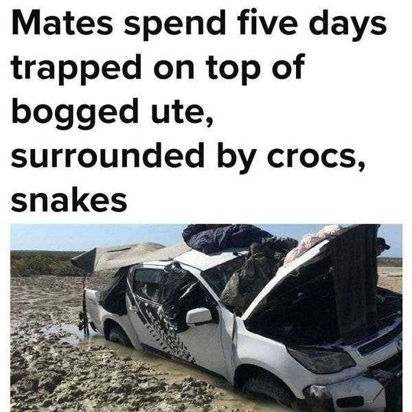 Vehicle - Mates spend five days trapped on top of bogged ute, surrounded by crocs, snakes