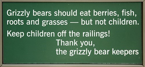 Text - Grizzly bears should eat berries, fish, roots and grasses-but not children. Keep children off the railings! Thank you, the grizzly bear keepers