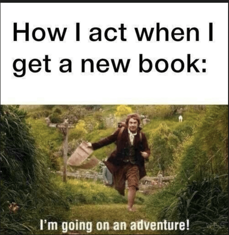 People in nature - How I act when I get a new book: I'm going on an adventure!