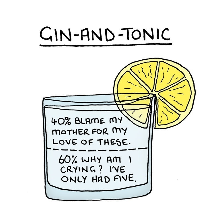 Font - GIN-AND-TONIC 40% BLAME my MOTHER FOR my LOVE OF THESE 60% WHY Am 1 CRYING? I'VE ONLY HAD FIVE