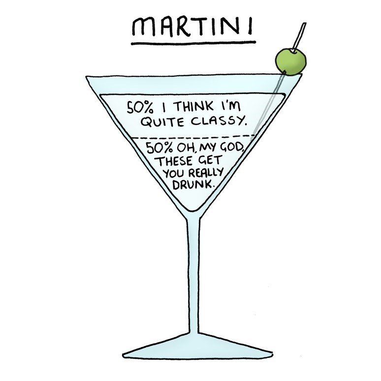 Stemware - MARTINI SO% I THINK i'm QUITE CLASSY 50% OH,MY GOD, THESE GET YOU REALLY DRUNK