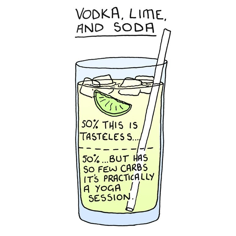 Drinkware - VODKA, LIME AND SODA 50% THIS IS TASTELES S. 50%. BUT HAS So FEW CARBS IT'S PRACTICALLY A YOGA SESSION