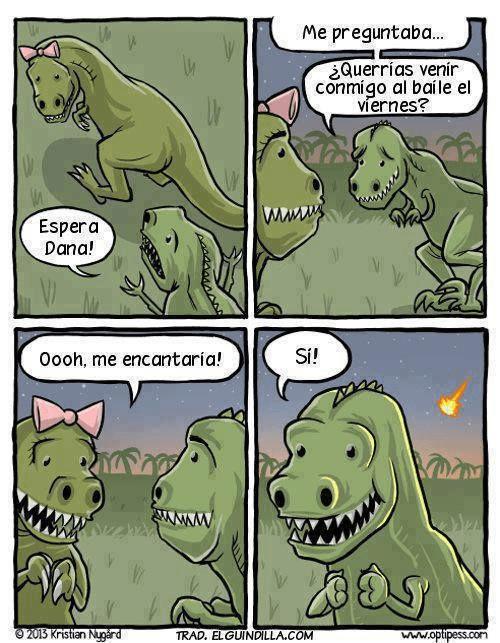 caricatura de dinosaurio que se espera a ultima hora para pedirle cita a una chica