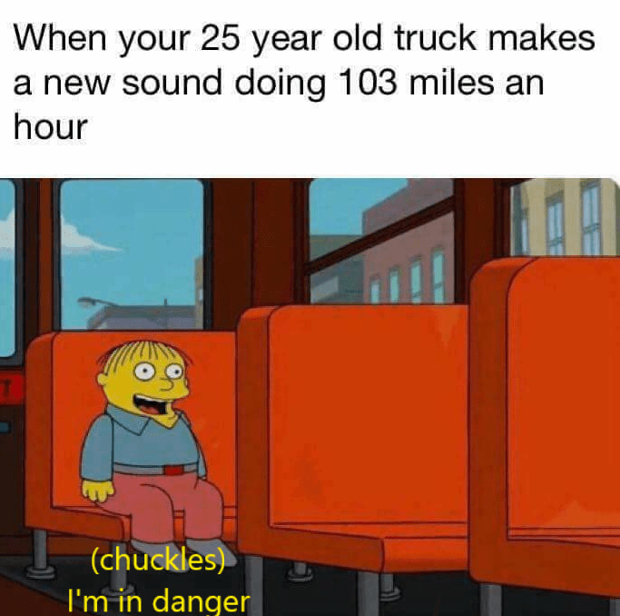 Cartoon - When your 25 year old truck makes a new sound doing 103 miles an hour (chuckles) I'm in danger BE