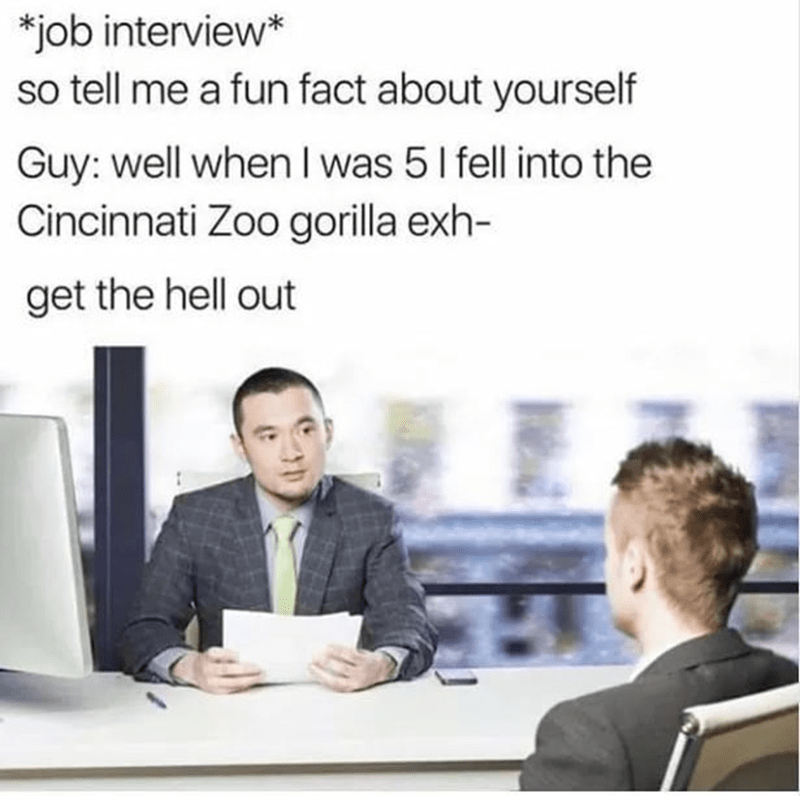 Job - job interview* so tell me a fun fact about yourself Guy: well when I was 5 I fell into the Cincinnati Zoo gorilla exh- get the hell out