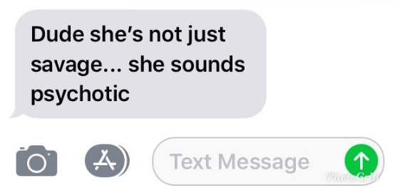 Text - Dude she's not just savage... she sounds psychotic Text Message PhatGry