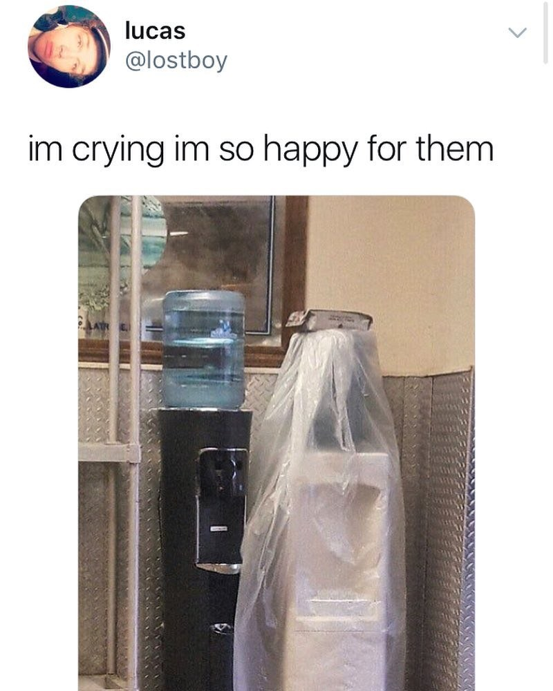 Funny meme about water containers getting married.