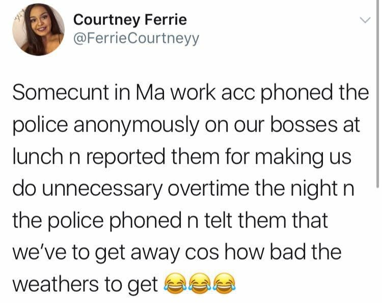 sunday meme about a worker calling the police on their boss
