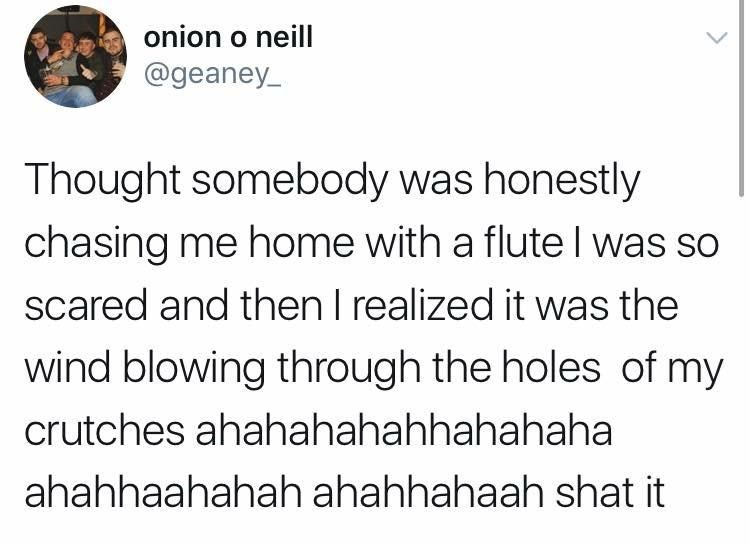 sunday meme about a person getting chased by a flute