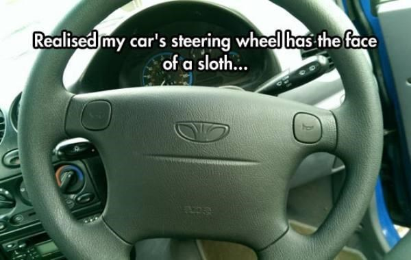 Steering wheel - Realised my car's steering wheel has the face of a sloth...