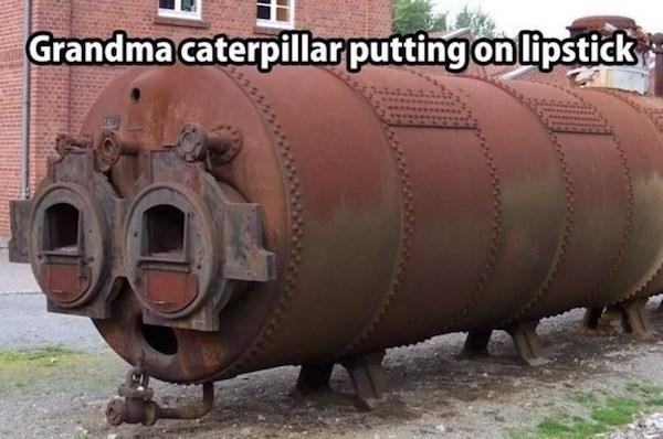 Transport - Grandma caterpillar putting on lipstick