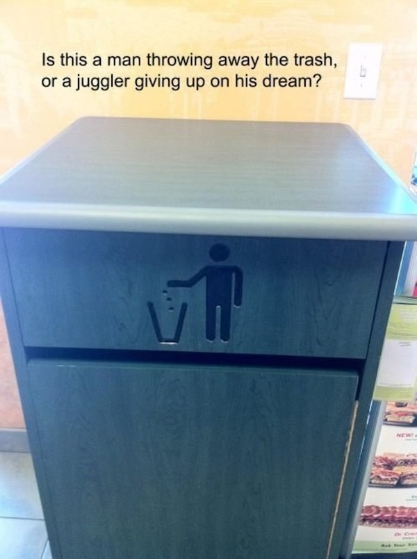 Furniture - Is this a man throwing away the trash, or a juggler giving up on his dream? NEWe Ask