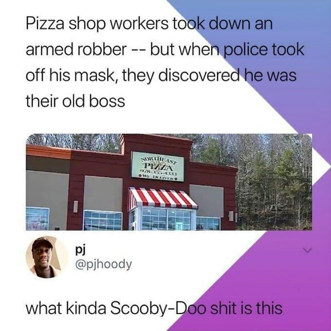 Funny memes about pizza and scooby doo.