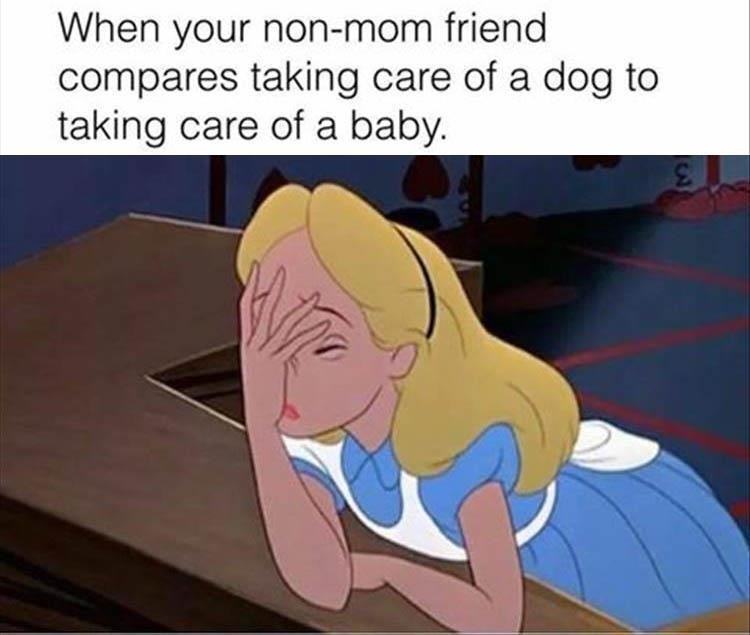 animal meme - Animated cartoon - When your non-mom friend compares taking care of a dog to taking care of a baby.