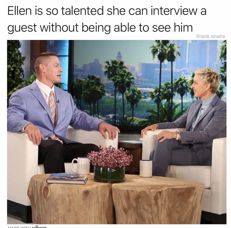 Community - Ellen is so talented she can interview a guest without being able to see him @tank.sinatra MADE WITH MOMUC