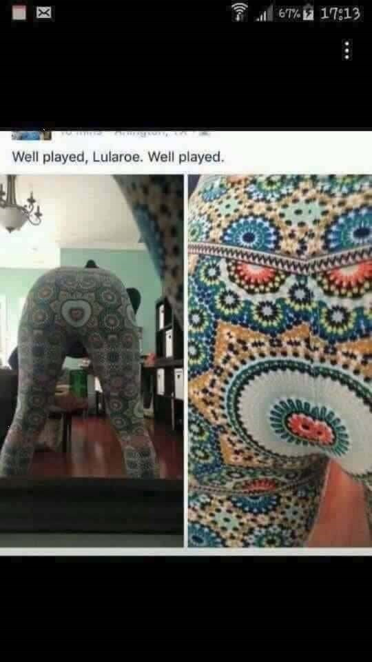lularoe leggings with round pattern over the butt area