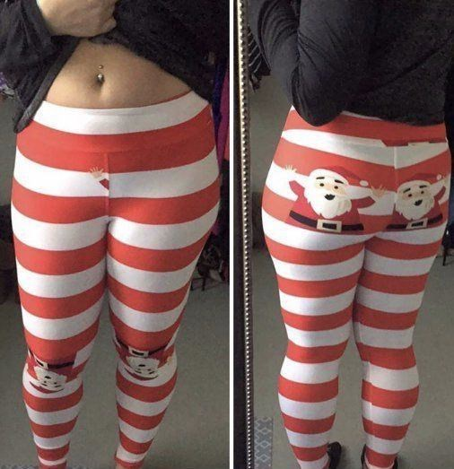 lularoe leggings with Santa's hand peeking from the crotch