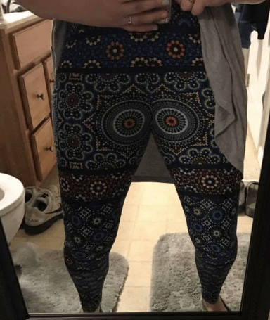 lularoe leggings with round pattern over the crotch
