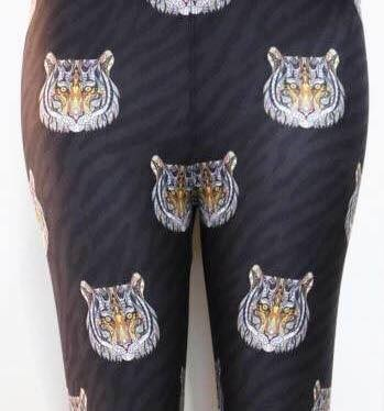 lularoe leggings with tiger pattern placed over the crotch