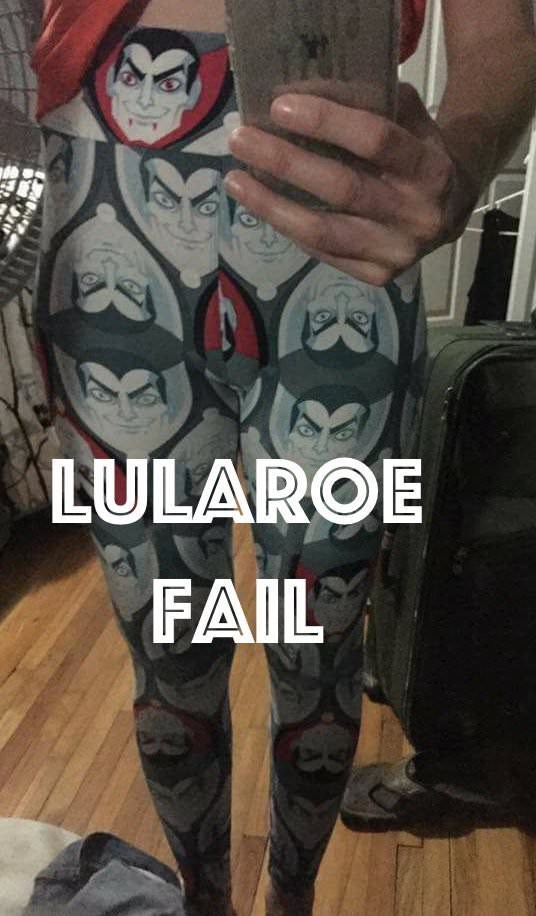 lularoe leggings with unfortunate Dracula print over the crotch