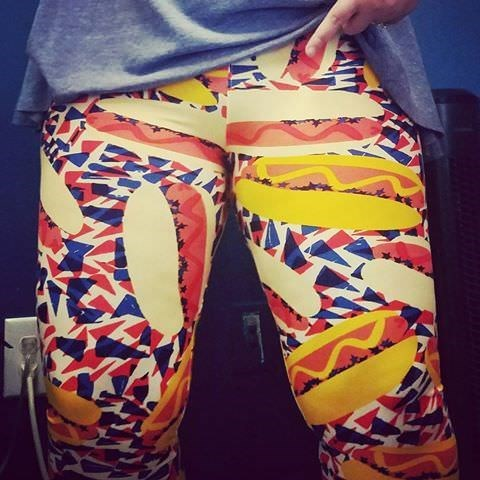 lularoe leggings with hot dog print over the crotch