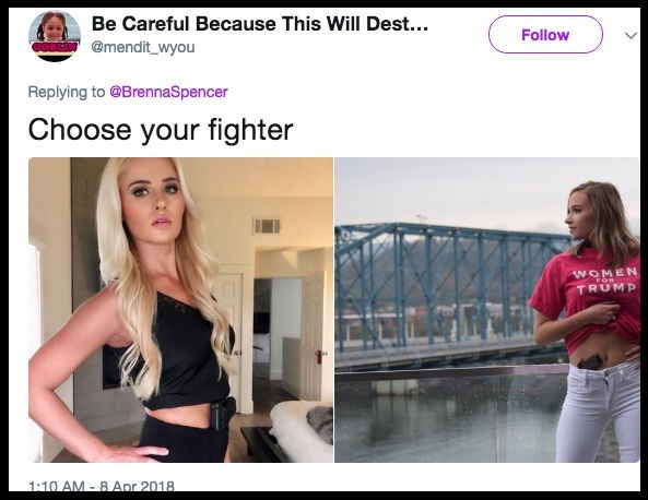 Hair - Be Careful Because This Will Dest... Follow @mendit_wyou Replying to @BrennaSpencer Choose your fighter WOMEN TRUMP 1:10 AM 8 Apr 2018