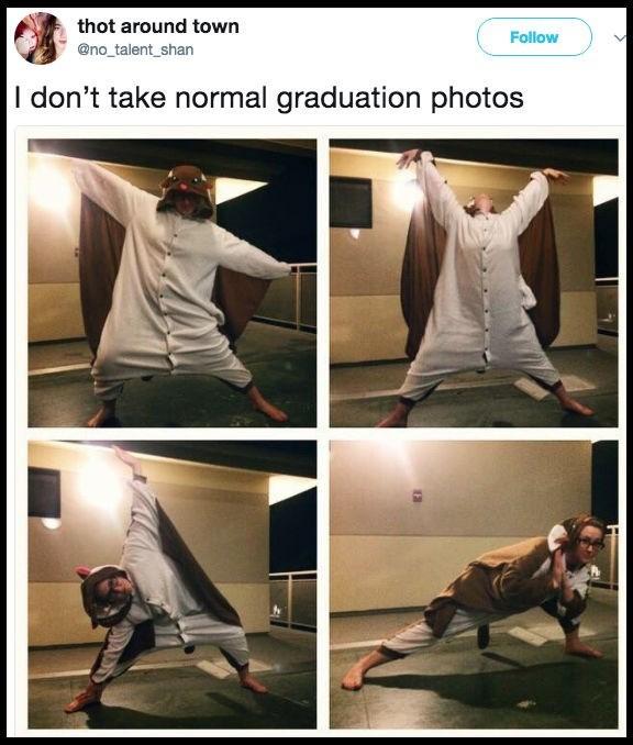 Human - thot around town Follow @no_talent_shan I don't take normal graduation photos