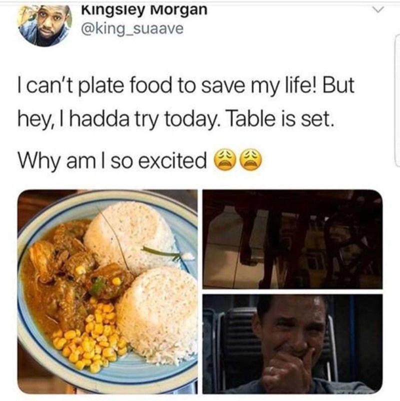 Food - Kingsley Morgan @king_suaave I can't plate food to save my life! But hey,I hadda try today. Table is set. Why am I so excited