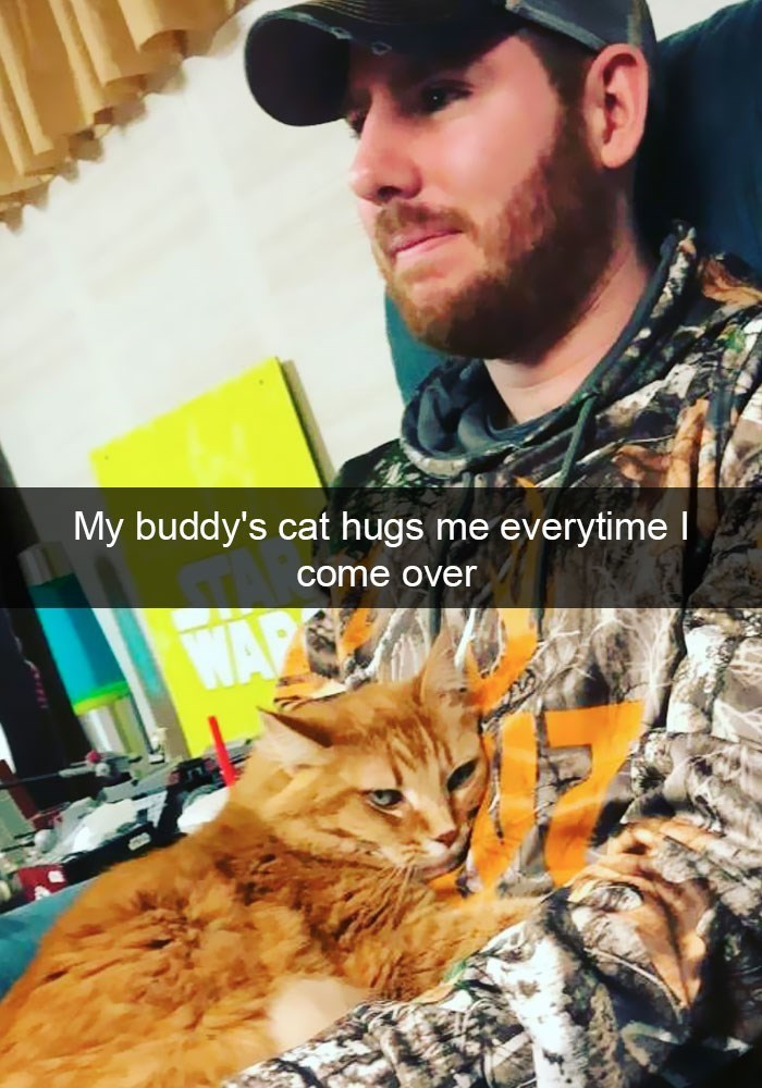 Cat - My buddy's cat hugs me everytime come over WAP