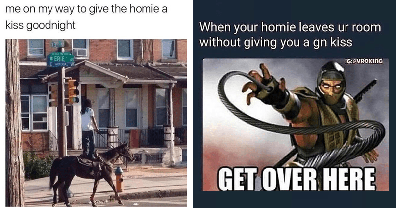 Funny memes about kissing your homies goodnight, Twitter, Instagram, Facebook, reddit.