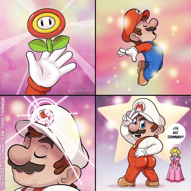 transformacion de mario con la flor