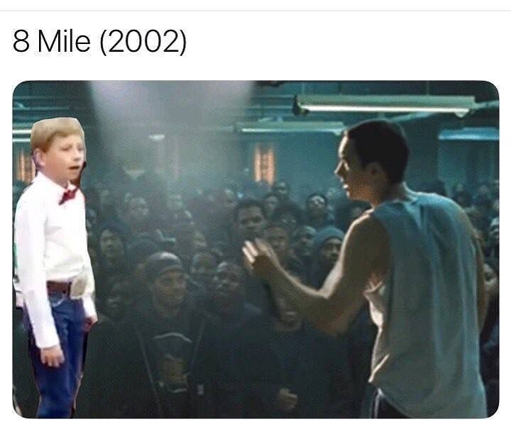 Funny meme about 8 mile and yodel boy.