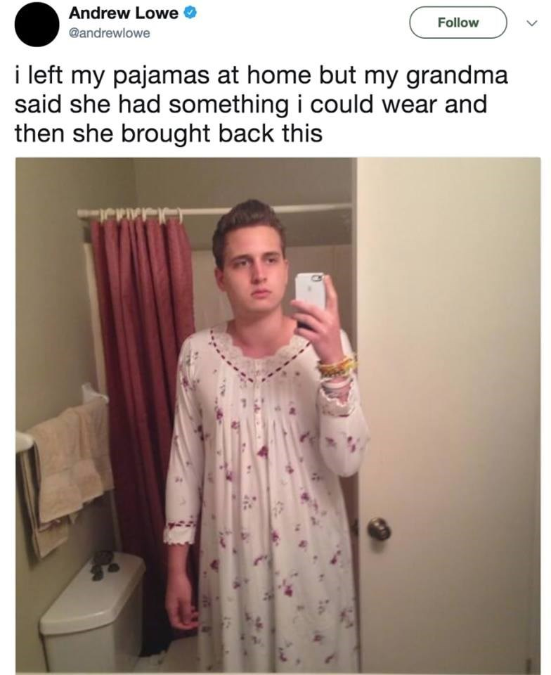 Clothing - Andrew Lowe Follow @andrewlowe i left my pajamas at home but my grandma said she had something i could wear and then she brought back this