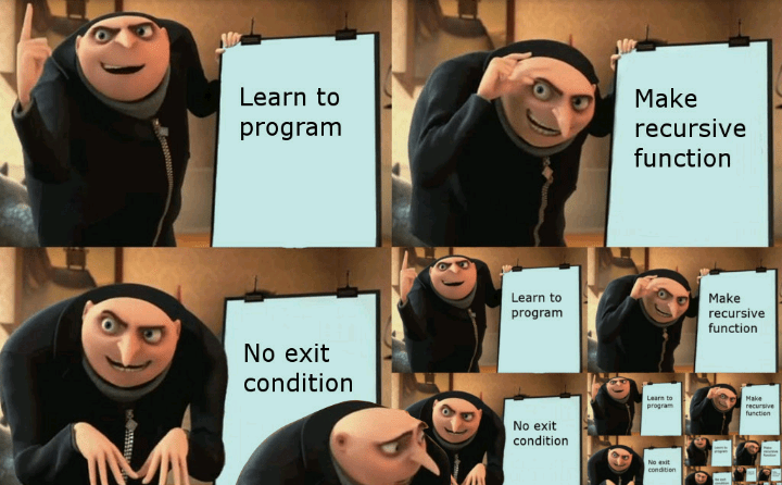 Face - Learn to Make recursive program function Learn to Make recursive function program No exit condition Learn to program Make recursive function No exit condition No esit conditien