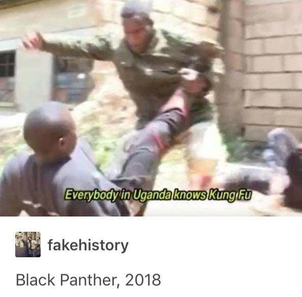 Photo caption - Everybody in Uganda knows Kung Fu fakehistory Black Panther, 2018