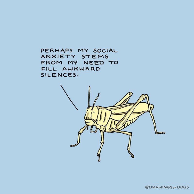 Insect - PERHAPS MY SOCIAL ANXIETY STEMS FROM MY NEED TO FILL AWKWARD SILENCES @DRAWINGSOF DOGS