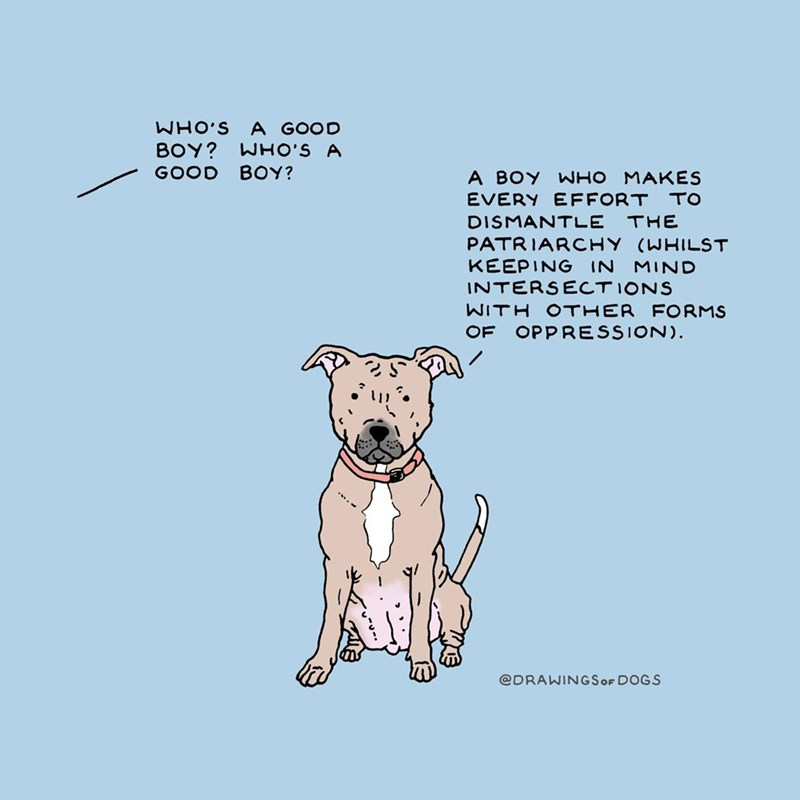 Mammal - WHO'S A GOOD WHO'S A BOY? GOOD BOY? A BOY WHO MAKES EVERY EFFORT TO THE DISMANTLE PATRIARCHY (WHILST KEEPING IN INTERSECTIONS MIND WITH OTHER FORMS OF OPPRESSION) @DRAWINGSOF DOGS